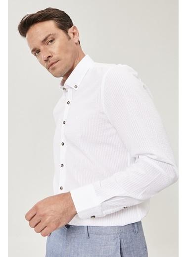 Beymen Business Slim Fit Gofre Gömlek 4B2021200002 Beyaz